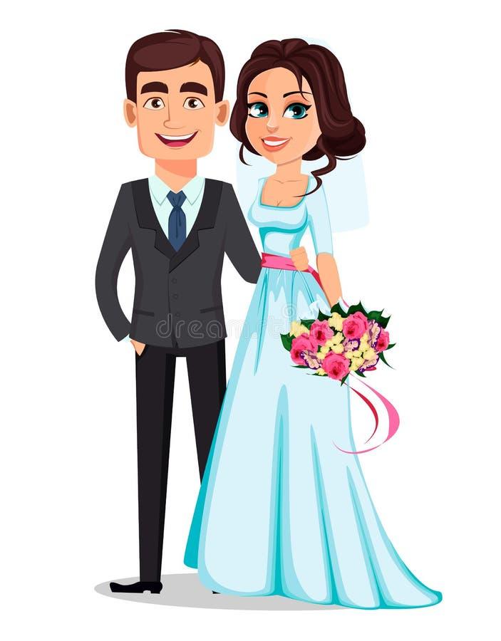 Piękny panny młodej mienia bukiet kwiaty i przystojny fornal w kostiumu royalty ilustracja