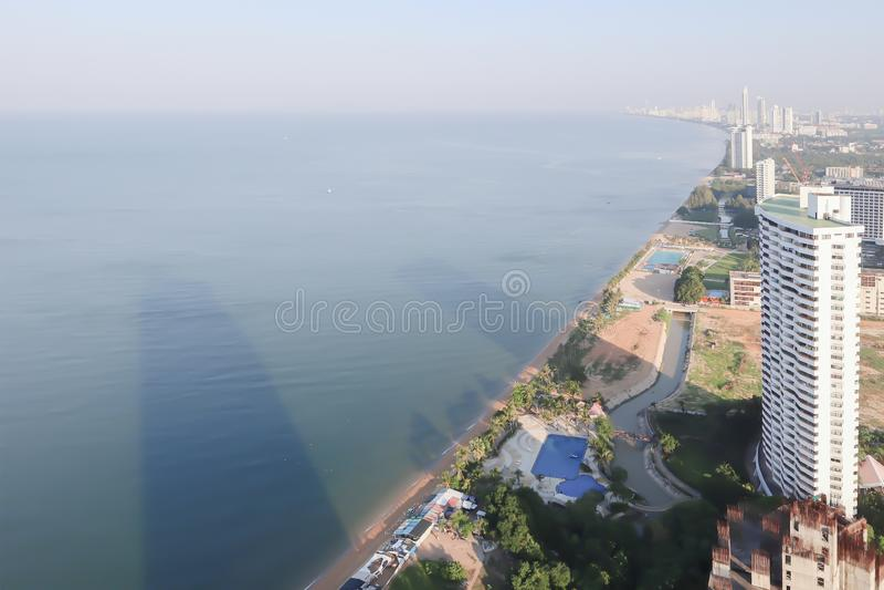 Piękny panorama widok z lotu ptaka Pattaya plaża, Tajlandia zdjęcie stock