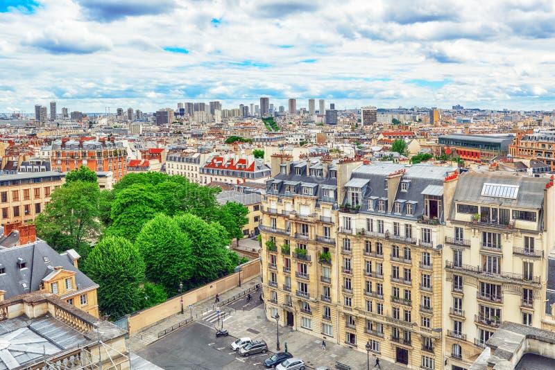 Piękny panoramiczny widok Paryż zdjęcia royalty free