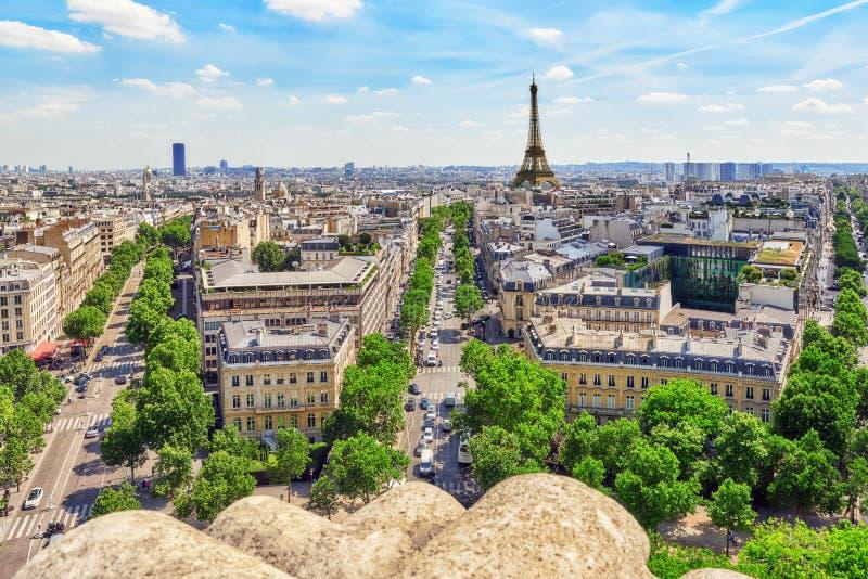 Piękny panoramiczny widok Paryż obrazy royalty free