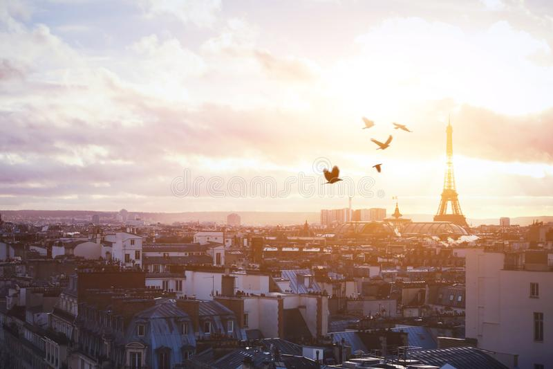 Piękny panoramiczny widok Paryż przy zmierzchem obrazy royalty free