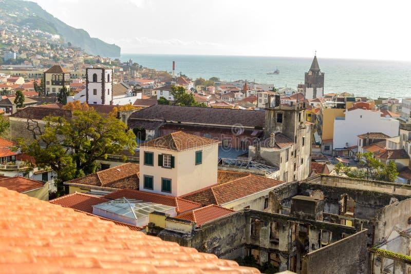 Piękny panoramiczny widok Se Funchal, madera, Portugalia zdjęcia royalty free