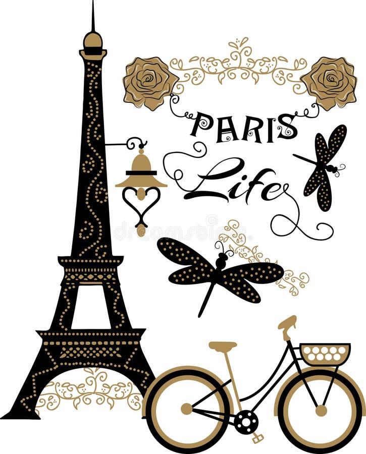 Piękny Paris projekt z kwiatami i dragonflies dla odzieży i koszulki ilustracja wektor