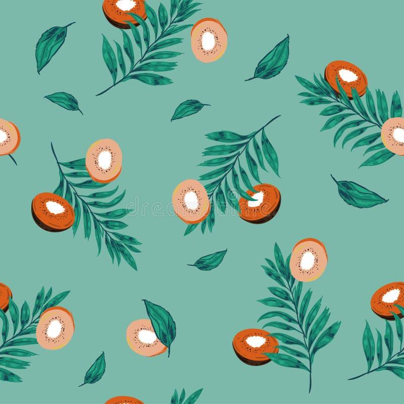 Piękny pastel l bezszwowi deseniowi kiwi owoc plasterki z palmą ilustracji