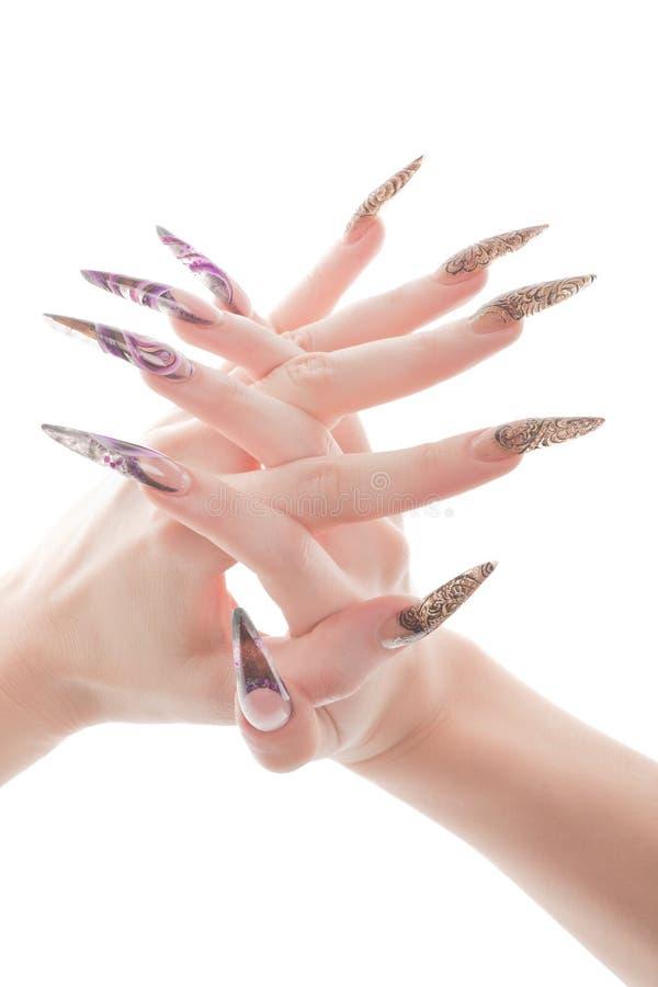 piękny paznokieć wręcza ludzkiego macanie obraz royalty free
