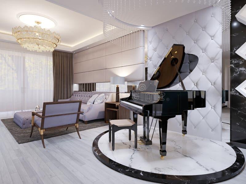 Piękny pianino w luksusowym holu Purpurowa kanapa z krzesłem i stołem, breloczek lampy, rhinestones ilustracja wektor