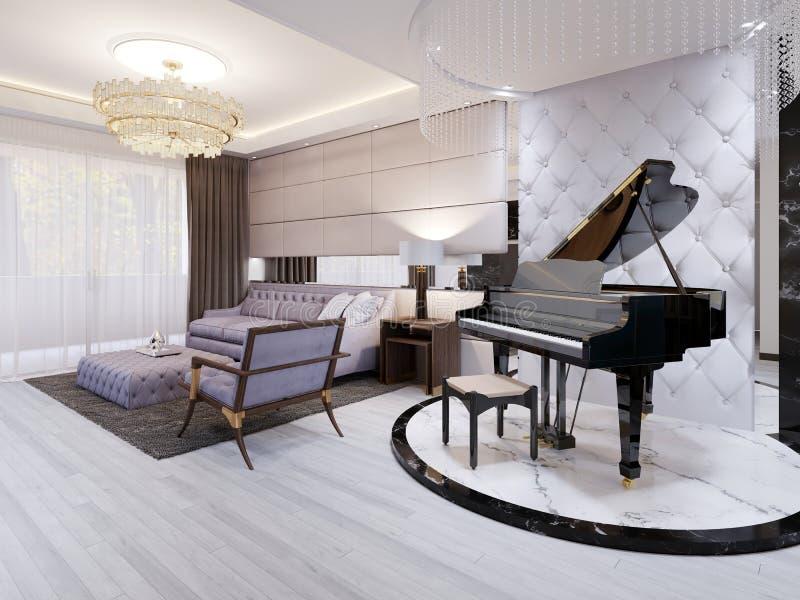 Piękny pianino w luksusowym holu Purpurowa kanapa z krzesłem i stołem, breloczek lampy, rhinestones royalty ilustracja