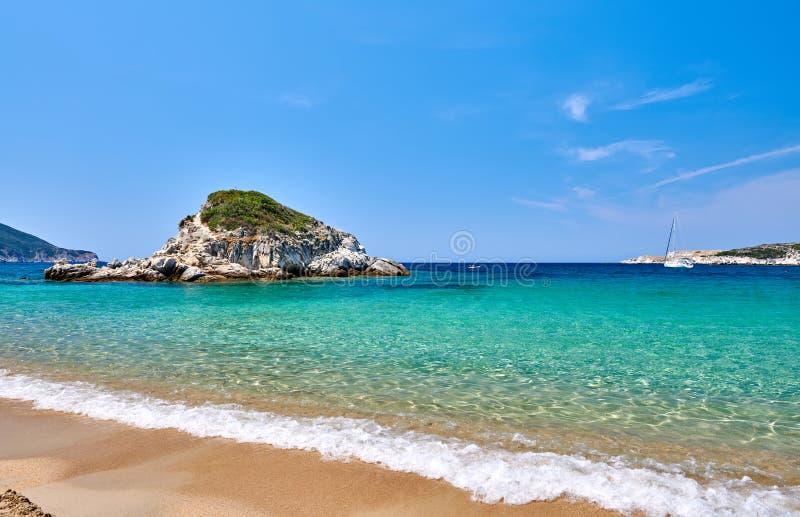 Piękny plaża krajobraz, Sithonia, Grecja fotografia royalty free