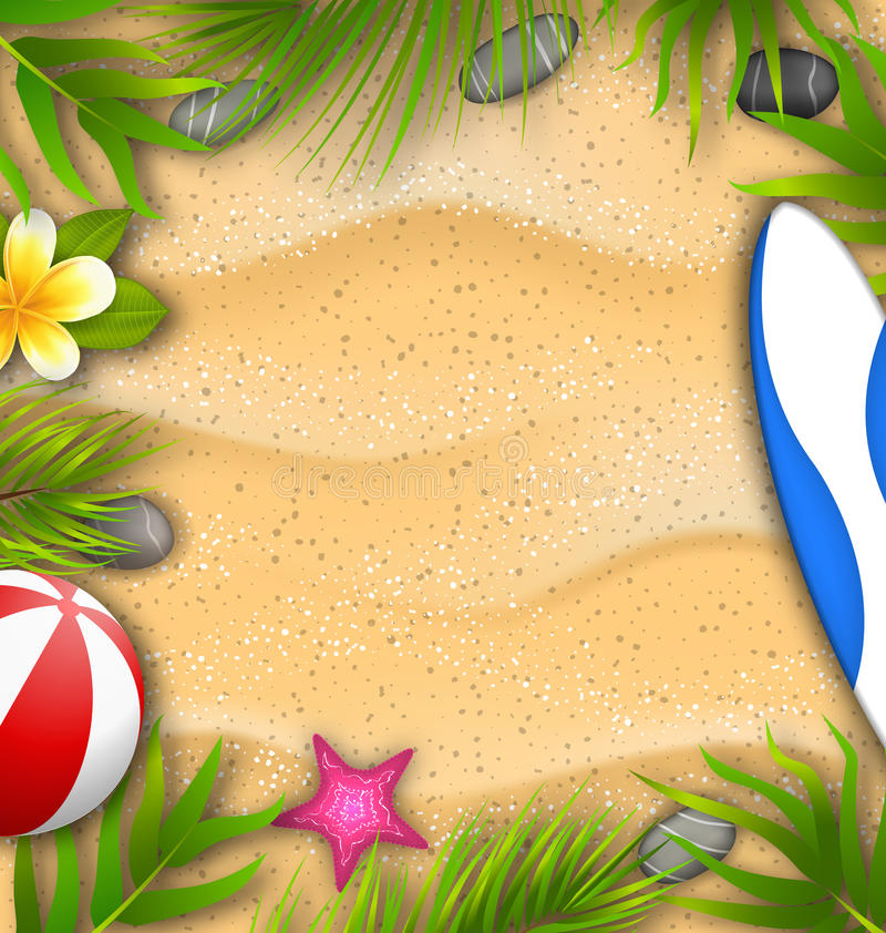 Piękny plakat z palma liśćmi, Plażowa piłka, Frangipani kwiat, rozgwiazda, kipieli deska, piasek tekstura royalty ilustracja