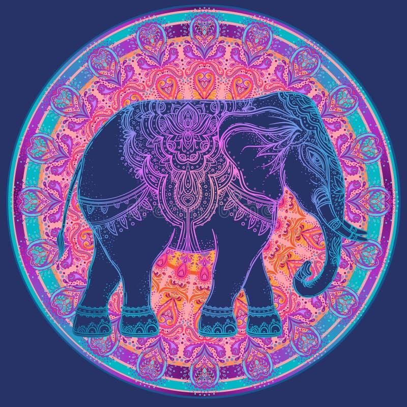 Piękny pociągany ręcznie plemienny stylowy słoń nad mandala Colorfu ilustracja wektor