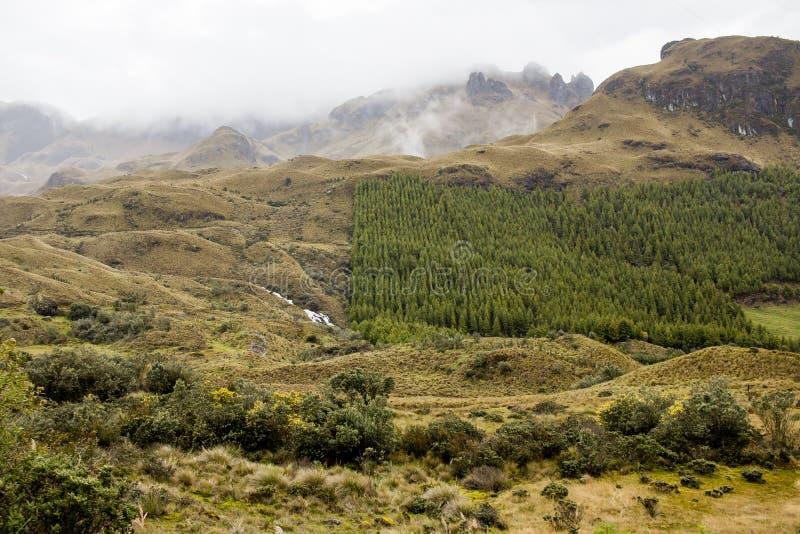 Piękny pole z zadziwiać skaliste góry i wzgórza w zadziwiającym chmurnym niebie i tle obrazy stock
