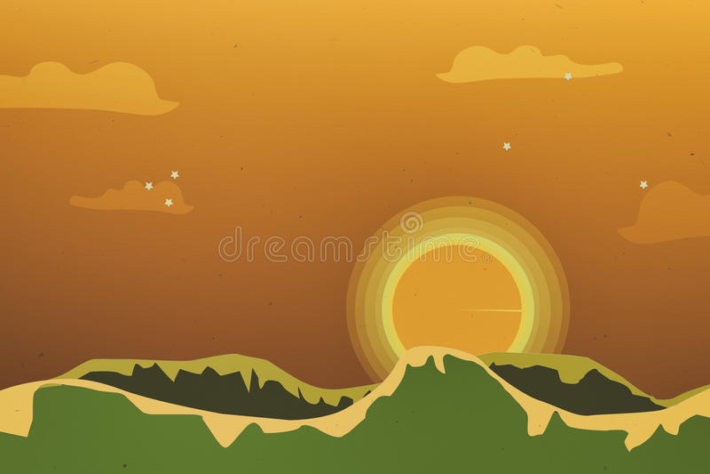 Piękny pomarańczowy niebo przy złotym godzina wschodu słońca czasem ilustracja wektor