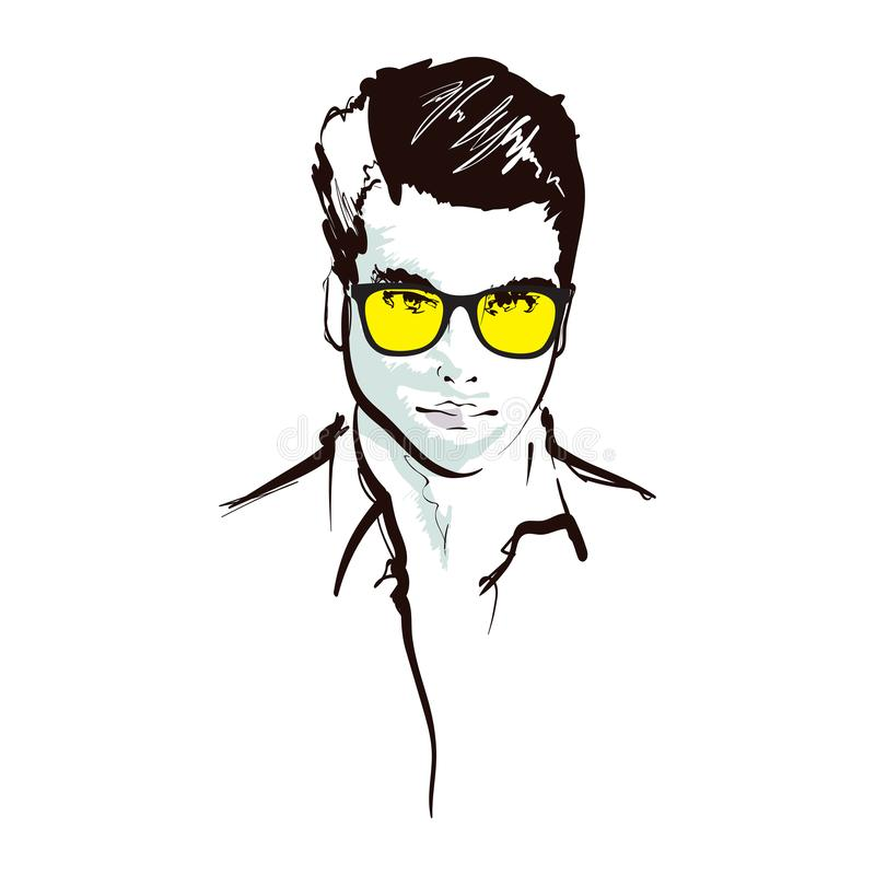 Piękny portret mody Męska twarz Insulina wektorowa w białej postaci Piękny portret mody ilustracja wektor