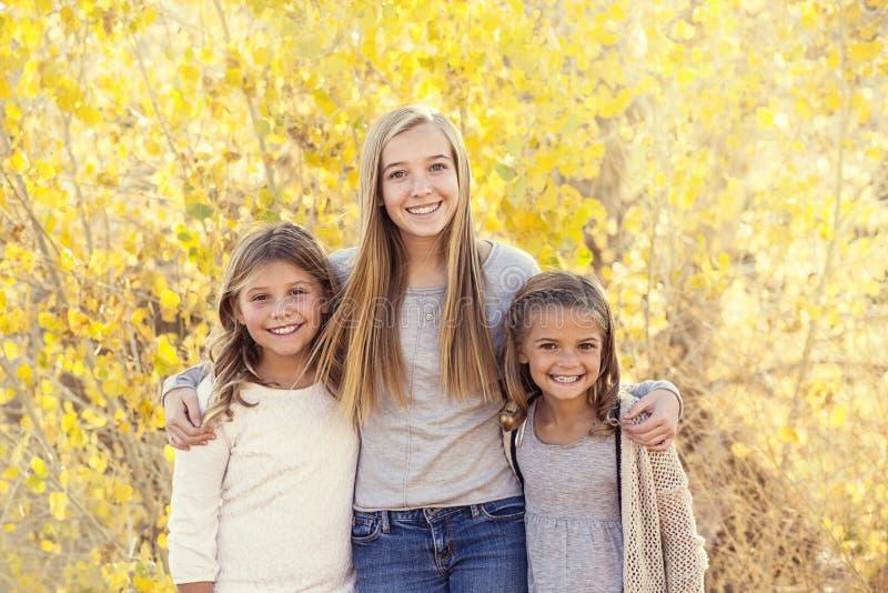 Piękny portret uśmiechnięci szczęśliwi dzieciaki outdoors fotografia royalty free