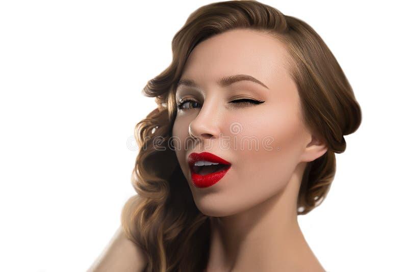 Piękny potomstwo model z czerwonymi wargami zdjęcia royalty free