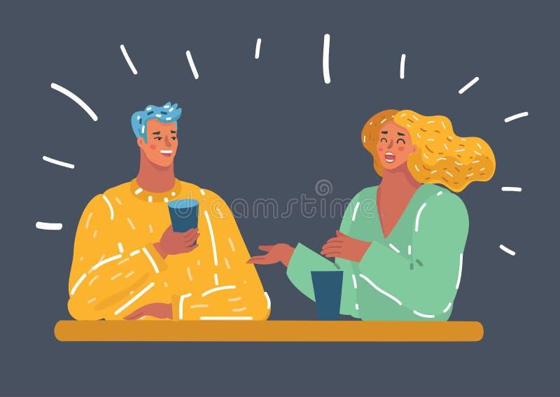 Piękny potomstwo pary napój wpólnie ilustracji
