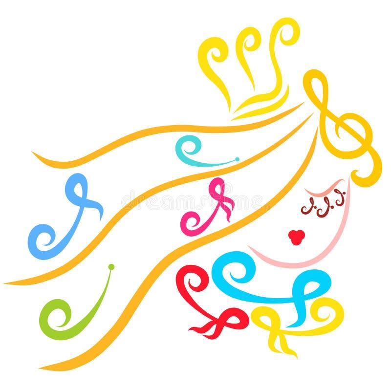 Piękny princess, notatki, muzyka i piękno kreatywnie, ilustracji