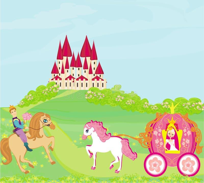 Piękny princess w frachcie, książe na horseback ilustracja wektor