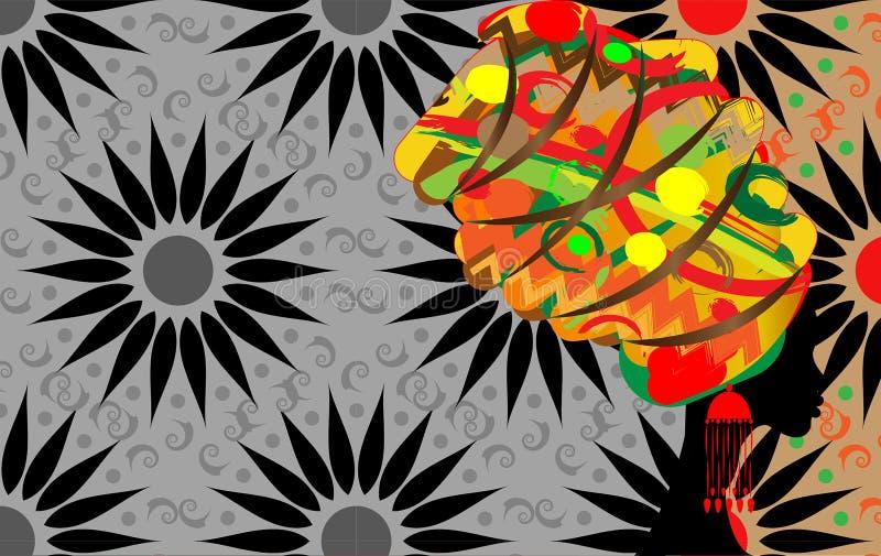 Piękny profil kobiety sylwetki whit kolczyk Piękno loga szablon Wektoru Firma imię Afro batika stylu tło royalty ilustracja