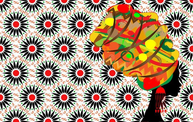 Piękny profil kobiety sylwetki whit kolczyk Piękno loga szablon Wektoru Firma imię Afro batika stylu tło ilustracja wektor