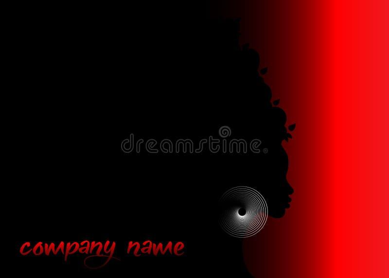 Piękny profil kobiety sylwetki whit kolczyk Piękno loga szablon Wektoru Firma imię na czarnym i czerwonym tle royalty ilustracja