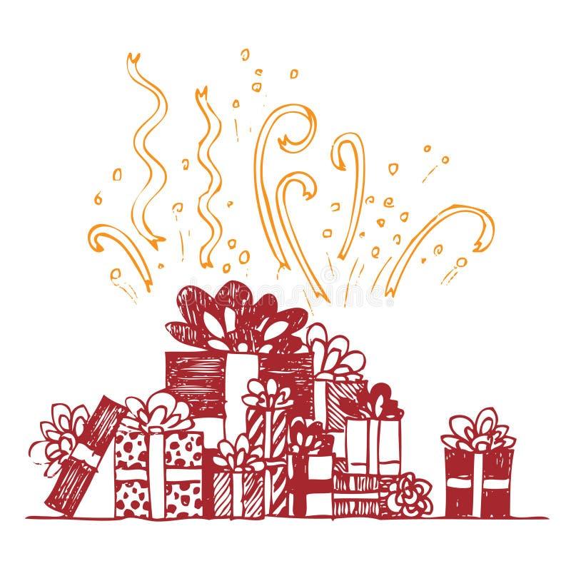 piękny pudełek składu prezent royalty ilustracja