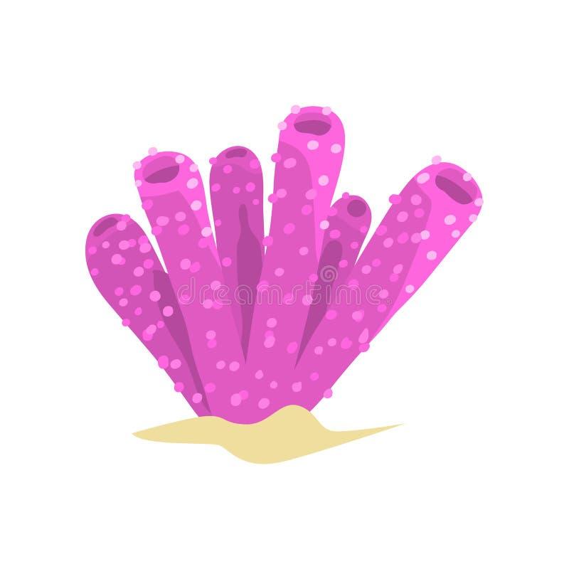 Piękny purpurowy gąbka koral w tubce lub wazowym kształcie Nadwodna roślina od tropikalnych raf Morza i oceanu przyrody pojęcie ilustracji