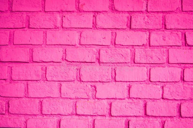 Piękny różowy kolor ściana z cegieł fotografia stock