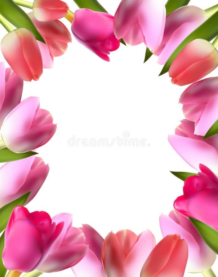 Piękny Różowy Realistyczny tulipan ramy wektor ilustracji