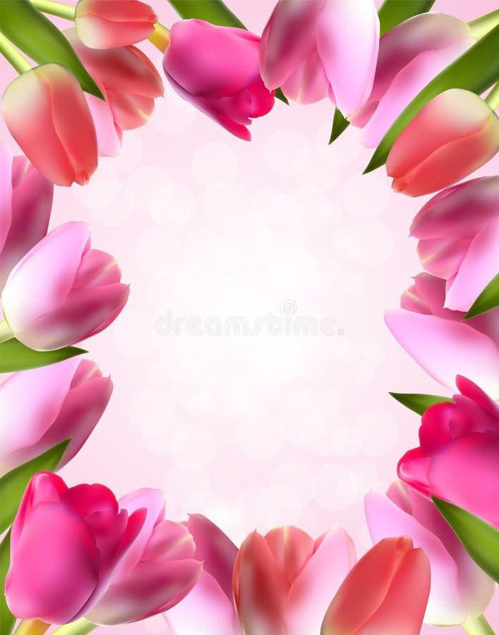 Piękny Różowy Realistyczny tulipan ramy wektor ilustracja wektor