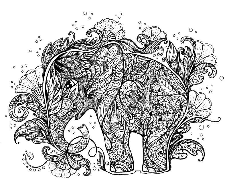 Piękny ręcznie malowany słoń z kwiecistym ornamentem ilustracja wektor