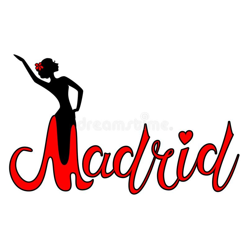 Piękny ręka pisać teksta typografii projekt Europe miasta Madrid imienia europejski logo z sylwetką dancingowy flamenco taniec royalty ilustracja