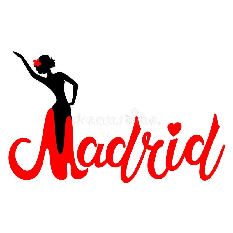 Piękny ręka pisać teksta typografii projekt Europe miasta Madrid imienia europejski logo z sylwetką dancingowy flamenco taniec ilustracji
