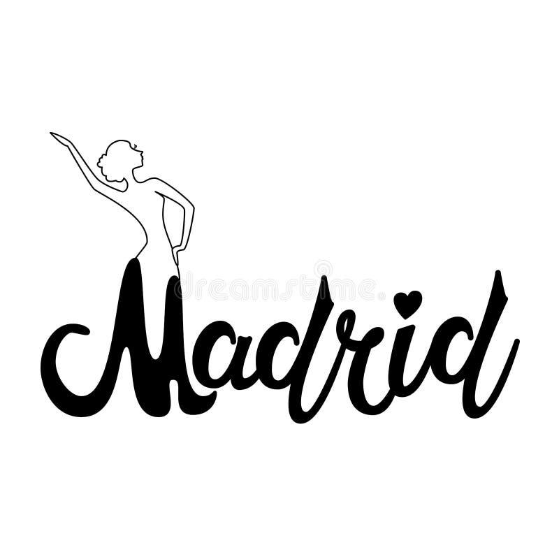 Piękny ręka pisać teksta typografii projekt Europe miasta Madrid imienia europejski logo z sylwetką dancingowy flamenco taniec ilustracja wektor