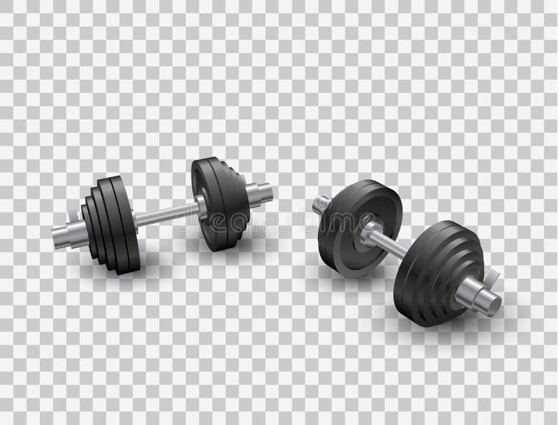 Piękny realistyczny perspektywicznego widoku sprawności fizycznej wektor dwa czarnego żelaznego loadable dumbbells na przejrzysty ilustracja wektor