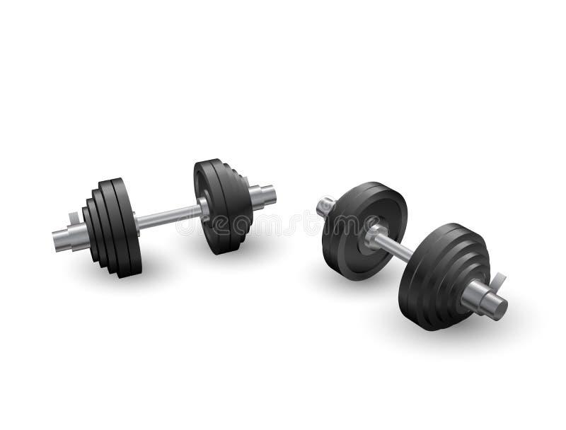 Piękny realistyczny perspektywicznego widoku sprawności fizycznej wektor dwa czarnego żelaznego loadable dumbbells na białym tle ilustracji