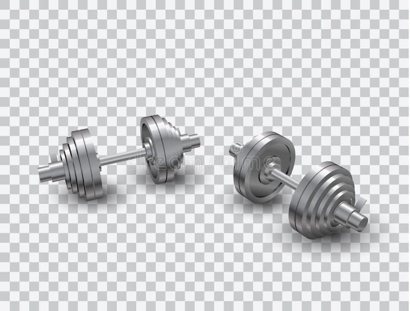 Piękny realistyczny perspektywicznego widoku sprawności fizycznej wektor dwa stalowego loadable dumbbells na przejrzystym tle ilustracja wektor