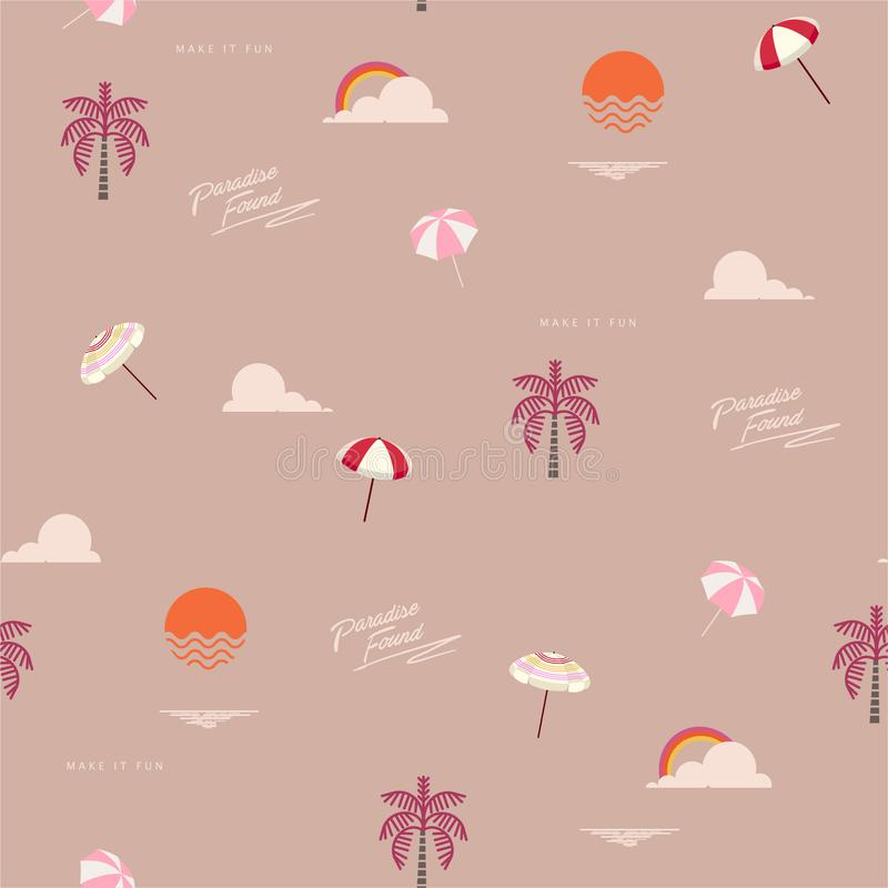 Piękny retro bezszwowy lato wzór z plażowymi ikona elementami tak jak drzewka palmowe, niebo, tęcza, słońce, parasol, morze i sfo ilustracji
