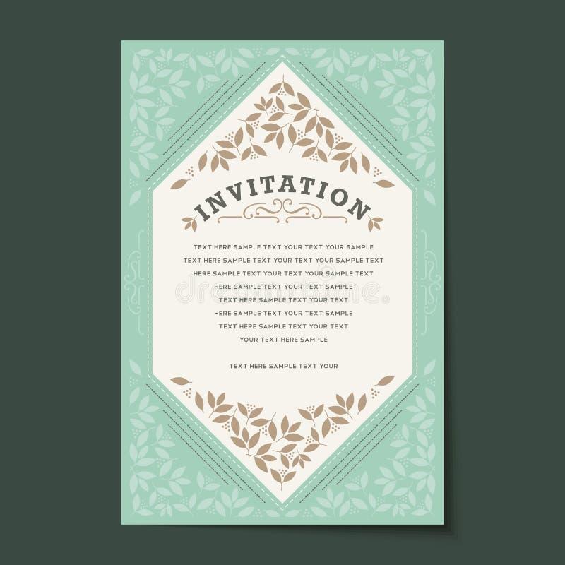 Piękny rocznika zaproszenia kart układ ilustracji