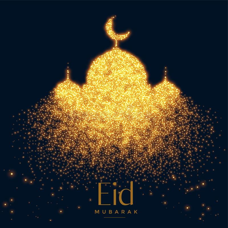 Piękny rozjarzony meczet robić z błyska tło ilustracji