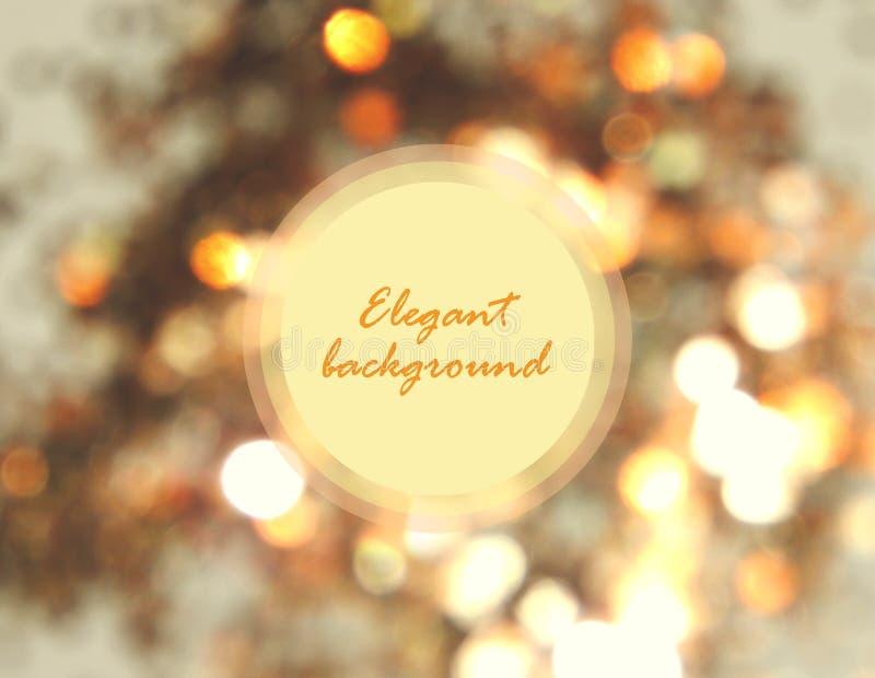 Piękny rozmyty złoty tło, świąteczny bokeh światło z round miejscem dla twój teksta obraz royalty free
