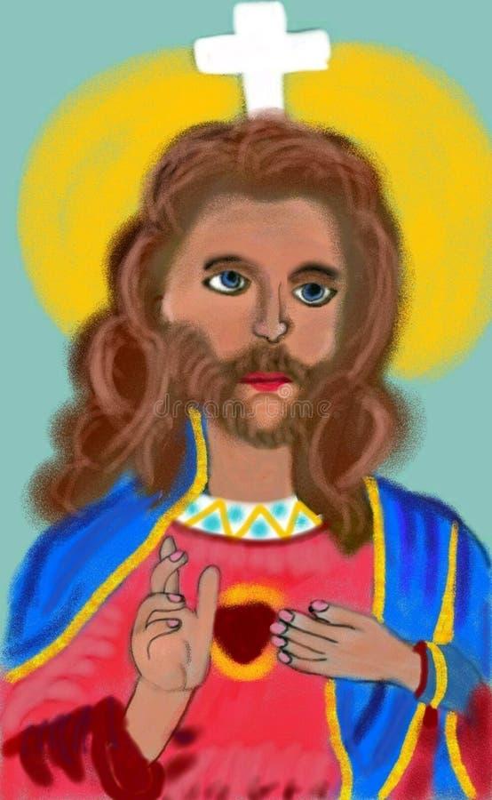 Piękny rysunek Jezus pokazuje oneness serce zdjęcie stock