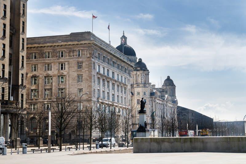Piękny słoneczny dzień w Liverpool, UK, różni widoki cit, zdjęcie royalty free