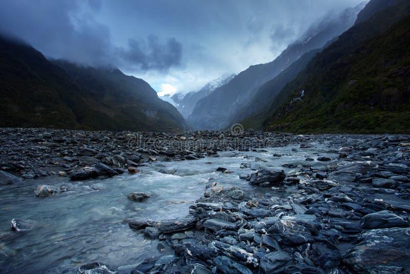 Piękny sceniczny Franz Josef lodowa park narodowy Southland obraz royalty free
