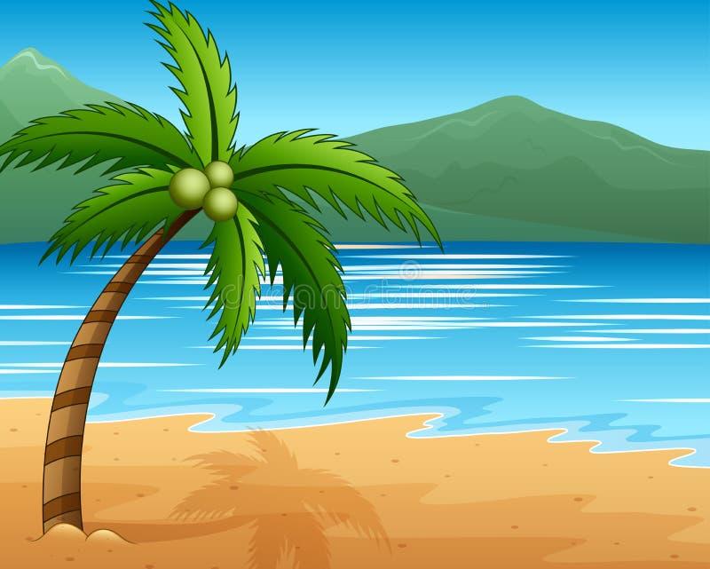 Piękny seascape nadmorski z halnymi i kokosowymi drzewami ilustracji