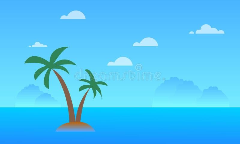Piękny seascape z górami, niebem, chmurami, kokosowym drzewem i oceanu krajobrazowym tłem, ilustracji