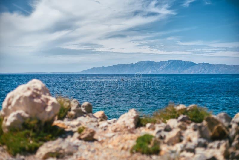 Piękny seascape z wybrzeża antyczny miasto Knid indyk idylliczny seascape fotografia stock