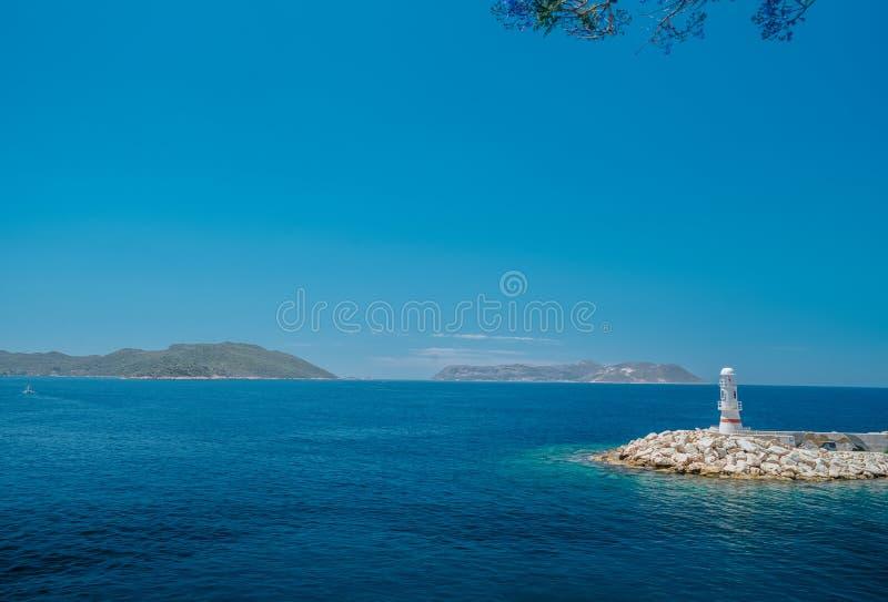 Piękny seascape z wybrzeża antyczny miasto Knidos obrazy stock