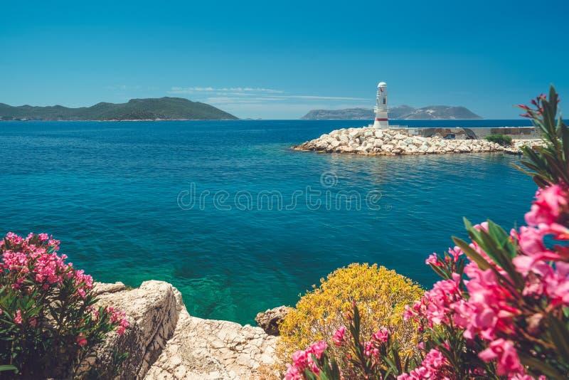 Piękny seascape z wybrzeża antyczny miasto Knidos obraz stock