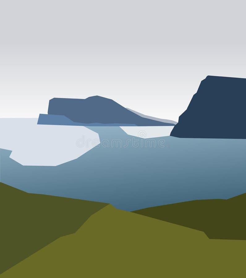 Piękny seascape z zmrokiem - błękitni lodowowie na nawadniają powierzchnię, widok od brzeg Kolorowa abstrakcjonistyczna ilustracj ilustracja wektor